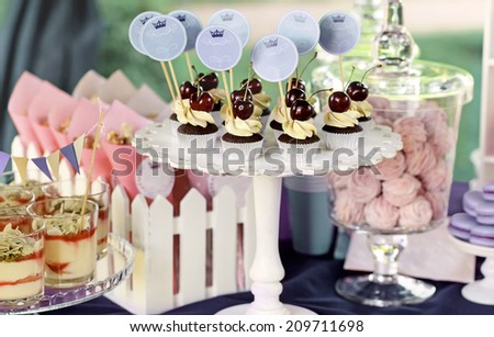 Delicious sweet buffet with cupcakes, tiramisu glasses and other desserts - stock photo