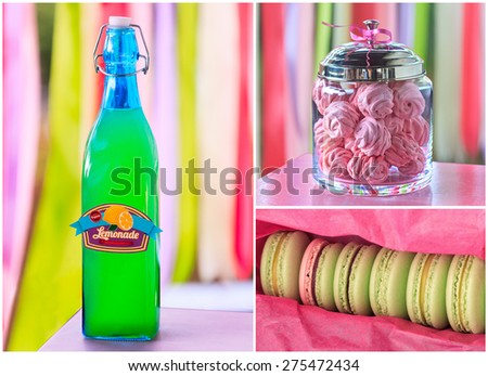 Delicious sweet buffet with lemonade, macarons, marshmallow on vivid striped background. high-resolution collage - stock photo