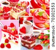 delicious sweet cakes for valentine`s party-collage with 5 images - stock photo