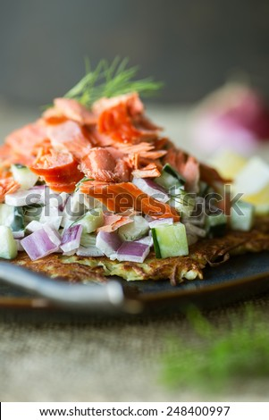 Delicious sweet potato rosti with cucumber salad and smoked salmon