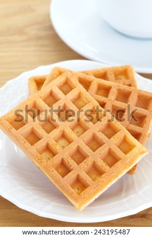 Delicious sweet waffle in ceramic plate on white plate