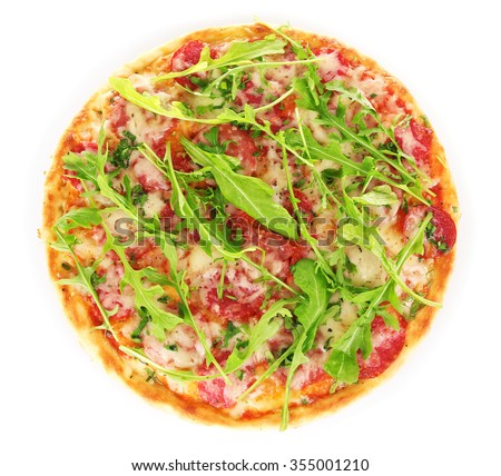 Delicious tasty pizza with arugula, isolated on white - stock photo