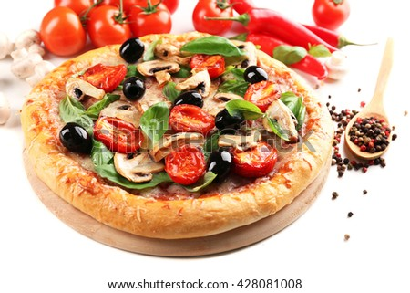 Delicious tasty pizza with vegetables on light background - stock photo