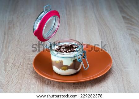 Delicious tiramisu cake in a cup - stock photo