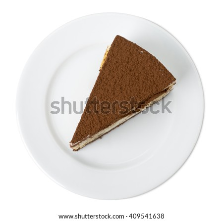 Delicious tiramisu cake. Isolated on a white background. - stock photo