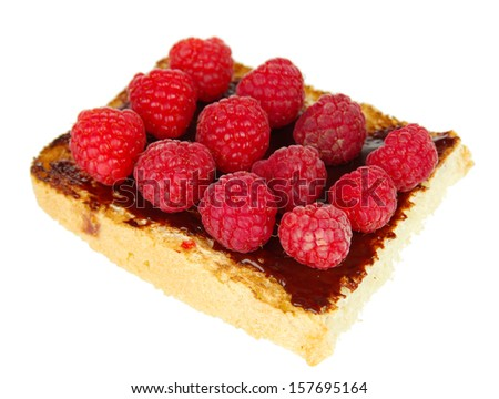 Delicious toast with raspberries isolated on white