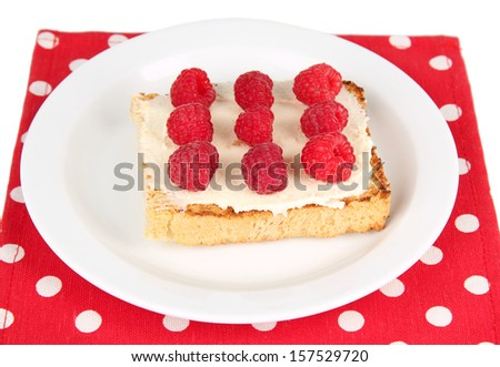 Delicious toast with raspberries on plate close-up