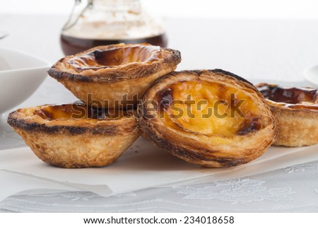Delicious traditional asian dessert egg tarts.