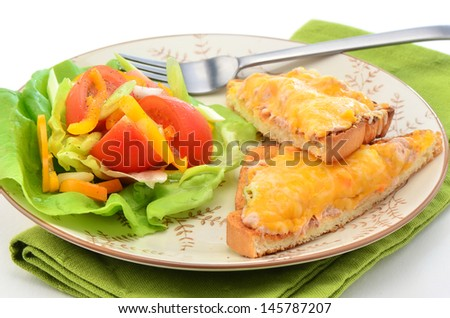 Delicious tuna melt with cheese and small garden salad, overhead perspective