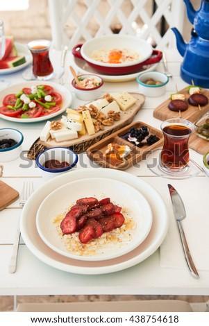 Delicious Turkish breakfast  - stock photo