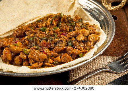 Delicious turkish chicken kebab kavurma grilled meat - stock photo