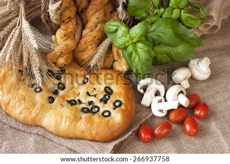 Delicious typical focaccia bread from of Italy - stock photo