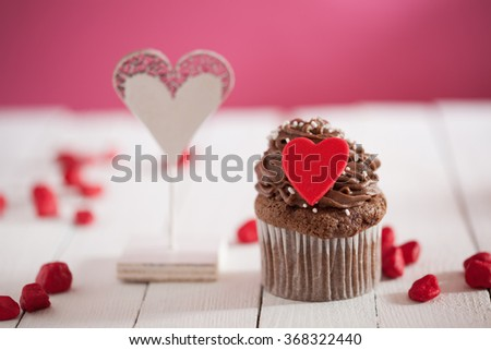 Delicious Valentine's Day Cupcake With Lovely Decoration - stock photo