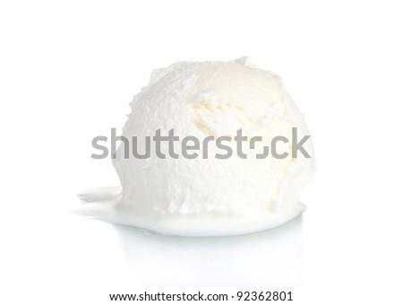 delicious vanilla ice cream isolated on white - stock photo