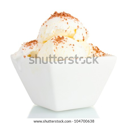 delicious vanilla ice cream with chocolate in bowl isolated on white - stock photo