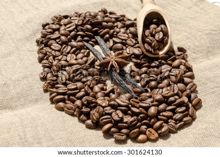delicious vanilla with coffee grains, cinnamon and aniseed - stock photo
