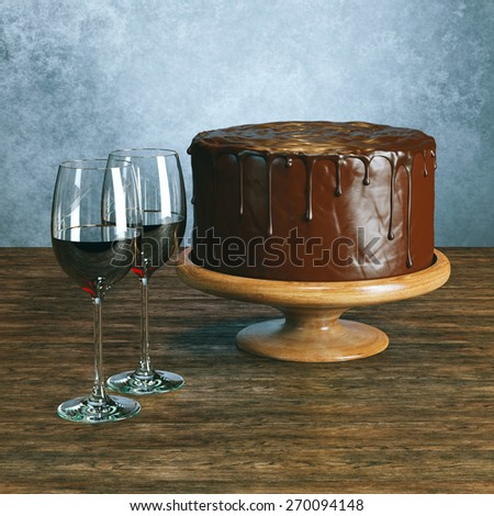 Delicious vegan cake with icing on the top and glasses of wine on wooden surface behind grey wall background - stock photo