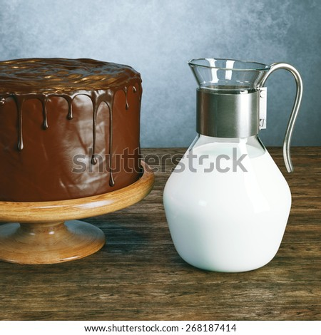 Delicious vegan super chocolate cake on beautiful wooden stands with retro jug of fresh milk in vintage interior - stock photo