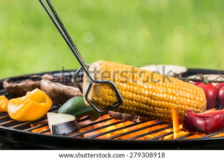Delicious vegetable on grill - stock photo