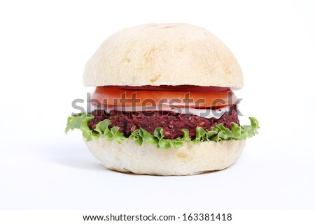 Delicious veggie burger on white background.