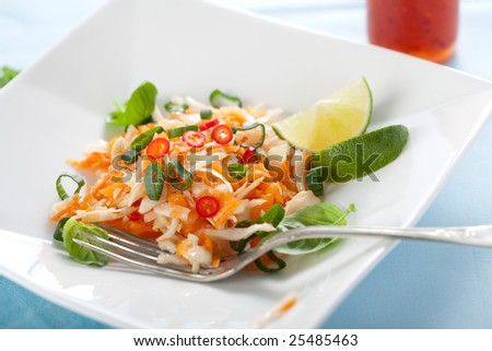 Delicious vietnamese carrot salad with lime and cabbage