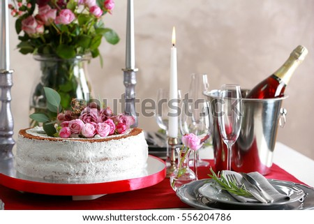 Delicious Wedding Cake On Beautifully Served Stock Photo Royalty