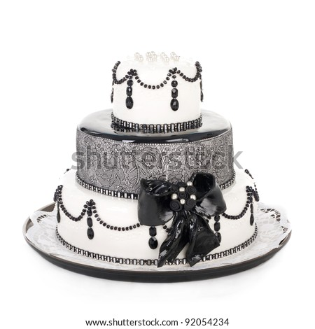 delicious white and black cake - stock photo