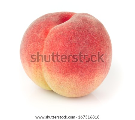 Delicious white-fleshed peach with perfect soft fuzzy skin isolated on white background