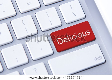 Delicious word in red keyboard buttons