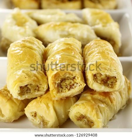 Deliciously sweet  fresh baked baklava ready to serve. - stock photo