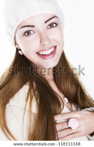 Delighted happy woman face smiling. Winter style