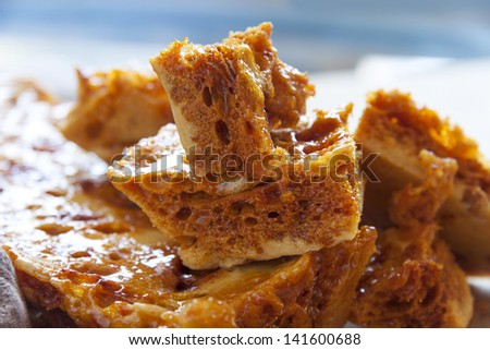 Delightful fresh baked crisp and crunchy sweet honeycomb dessert. - stock photo