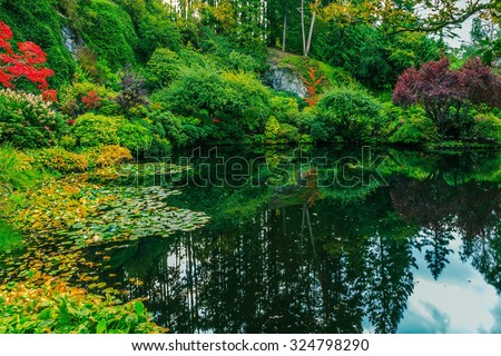 Delightful landscaped and floral park Butchart Gardens on Vancouver Island. In a small pond, overgrown with lilies, reflected sky - stock photo