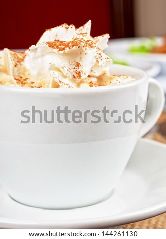 Deliicous coffee cup closeup photo - stock photo