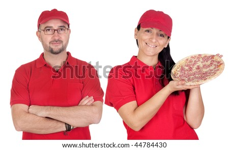 Deliver boy and girl with pizza with red uniform isolated over white background - stock photo
