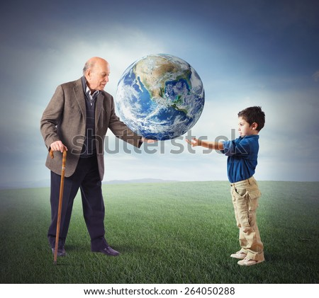 Deliver the world in young people hands. World provided by NASA - stock photo