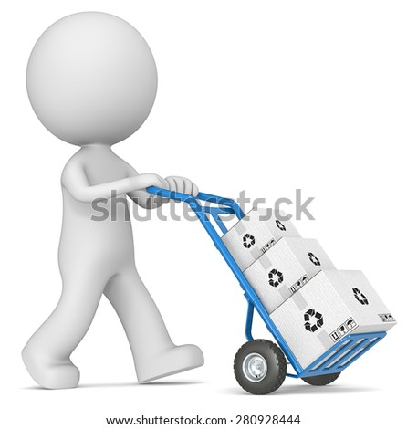 Delivering. The dude 3D character pushing blue Hand Truck with pile of white Cardboard Boxes.