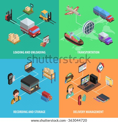 Delivery And Logistic Square Isometric Icon Set - stock photo