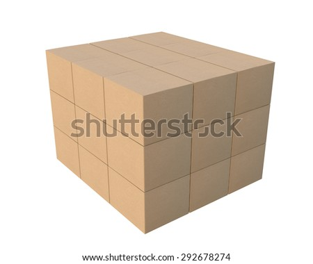 delivery and transportation logistics storage warehouse industry business concept, group of stacked corrugated cardboard boxes - stock photo
