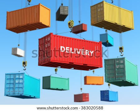 Delivery background concept. Cargo shipping containers in storage area with forklifts.  3d - stock photo
