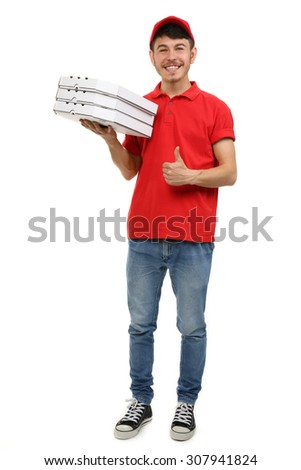 Delivery boy with cardboard pizza box isolated on white - stock photo