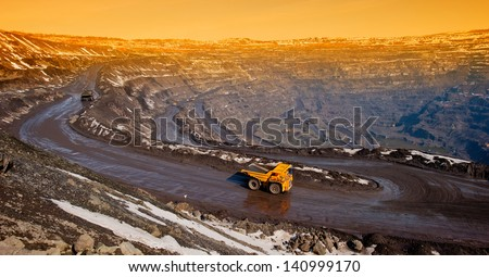 delivery by the motor transport of iron ore from a pit - stock photo