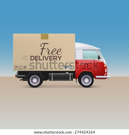 Delivery car. Free delivery inscription on cardboard box - stock photo