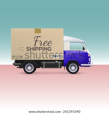 Delivery car. Free shipping inscription on cardboard box - stock photo