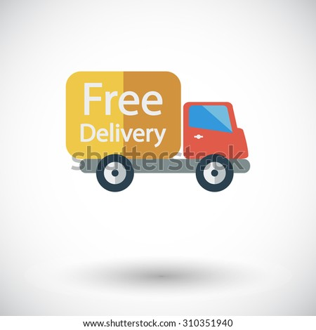 Delivery Car. Single flat icon on white background.  illustration.