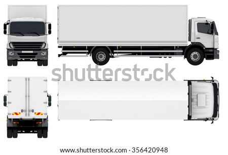 Delivery  Cargo Truck 3d render isolated on white - stock photo