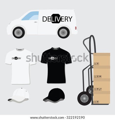 Delivery company design template. Delivery van,t-shirt, baseball cap and hand truck with package boxes raster illustration on grey background. Delivery icon set - stock photo