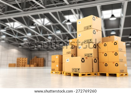 Delivery concept. Boxes on pallet in the warehouse. 3d - stock photo