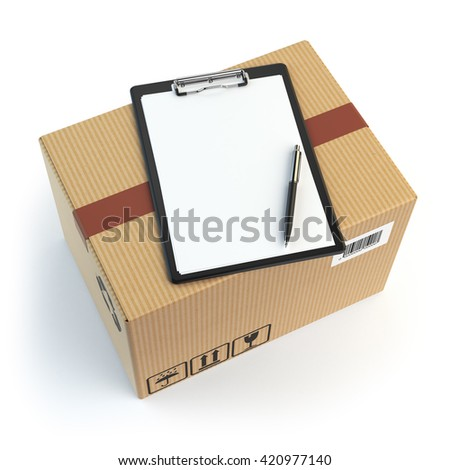 Delivery concept. Cardbox, pen and clipboard with receiving form isolated on white. 3d illustration - stock photo