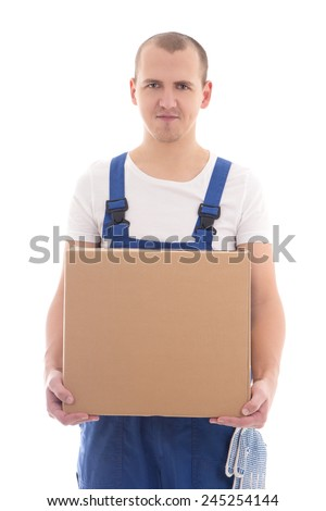 delivery concept - happy man in workwear with cardboard box isolated on white background - stock photo